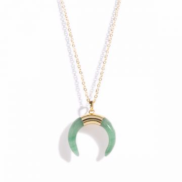 Colier Moon-Green Quartz